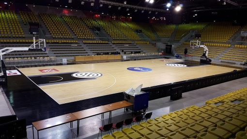 marquage sol pour France Russie basket Rhenus