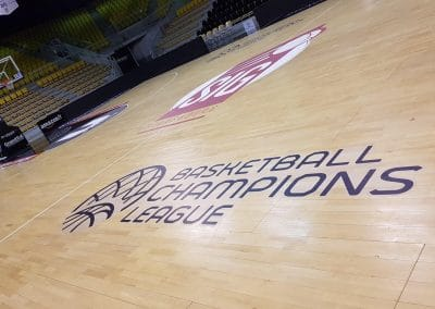 Lettrage terrain de basket - champions league de basket