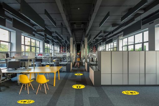 Sticker sol moquette distanciation sociale bureau-Nakara Fabricant à Starsbourg