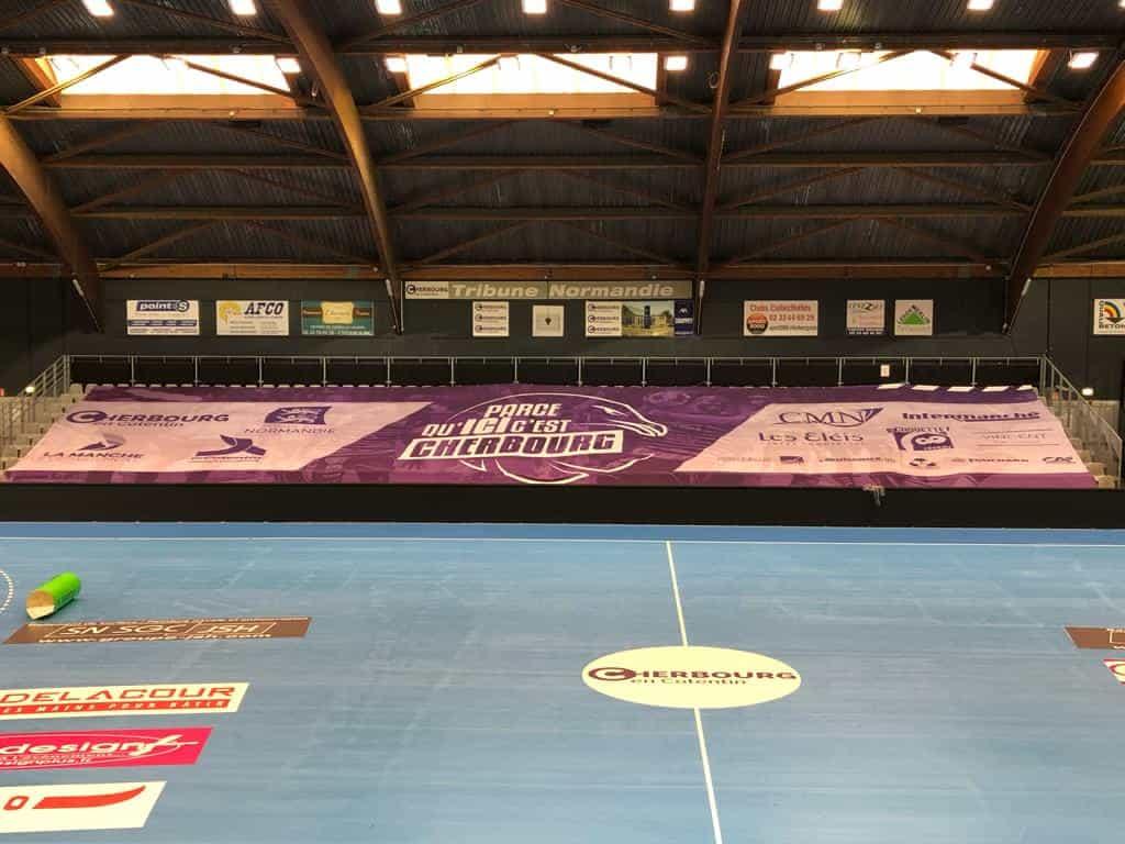 Habillage tribunes cherbourg handball nakra-sport-Proligue