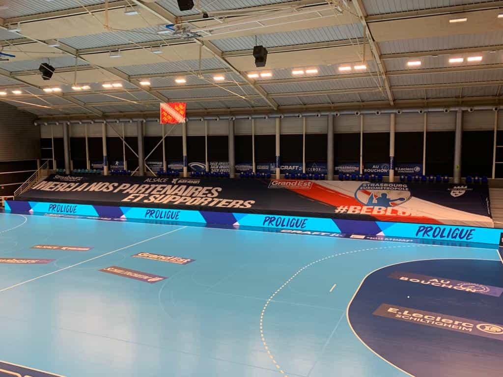 Habillage tribunes strasbourg eurometropole-handball-nakara-sport